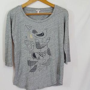 J. Crew Women's Gray Printed Top